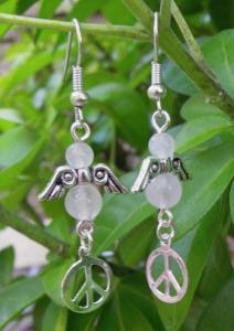 Gemstone angel earrings