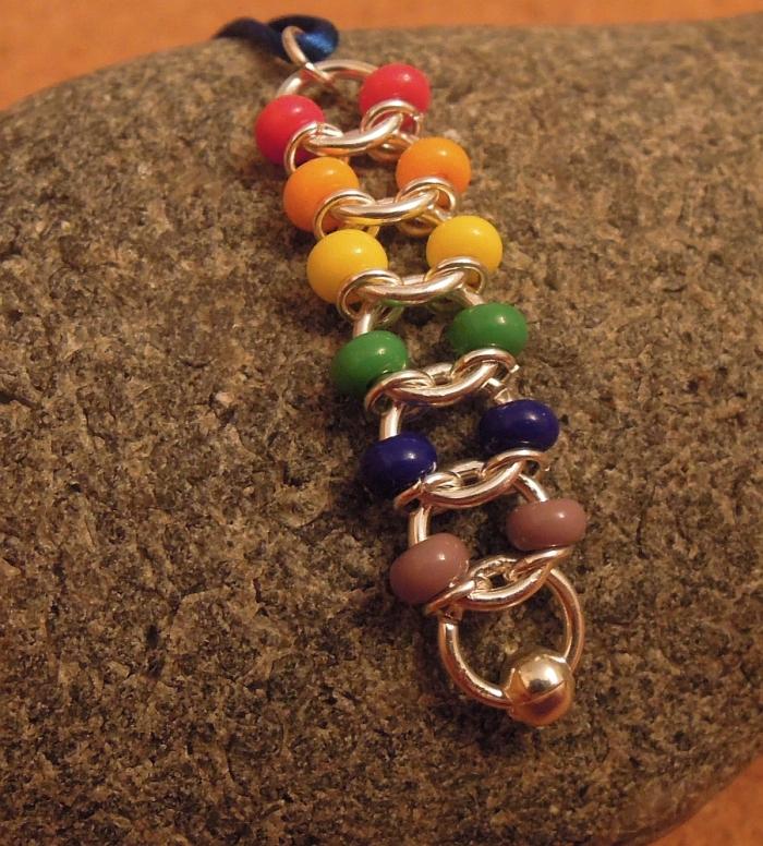 Gay pride centipede weave pendant. Custom orders